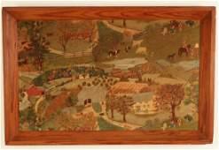 Large American folk art landscape painting