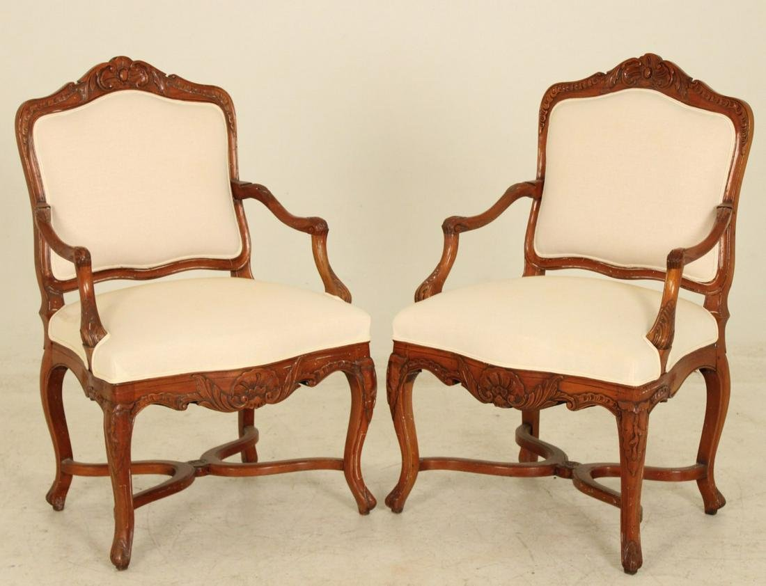 Pr of Louis xv style walnut chairs