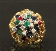 18K YELLOW GOLD LADY'S DIAMOND DINNER RING