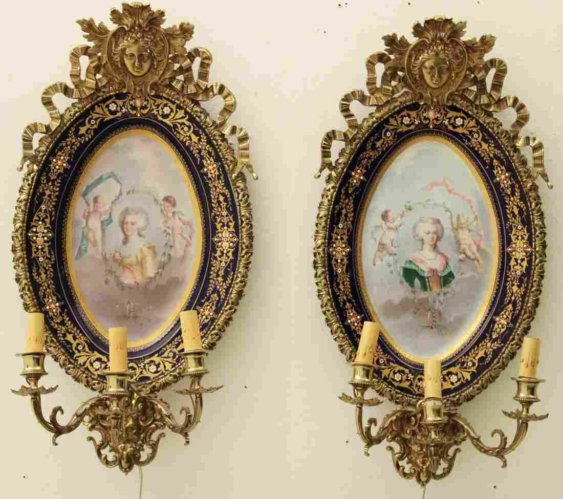 PR. OF FRENCH 3 LIGHT PORCELAIN WALL SCONCES