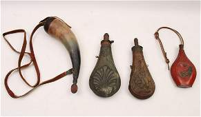 GROUP OF 4 MISC. POWDER HORNS