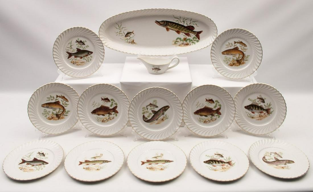 14 PC. FRENCH PORCELAIN FISH SET