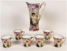 7 PC. R.S. PRUSSIA HANDPAINTED PORCELAIN COFFEE/TEA