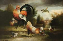 DUTCH OLD MASTER STYLE O/C PTG. OF ROOSTERS & CHICKS
