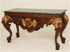 IRISH CHIPPENDALE STYLE MAHOGANY M/TOP CONSOLE TABLE