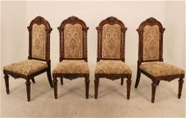 LOUIS XV STYLE WALNUT DINING TABLE AND 4 CHAIRS