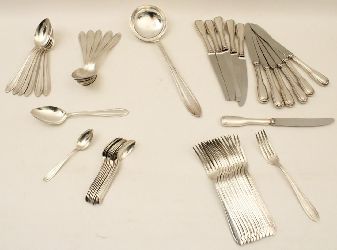 49 PC. SET OF FRENCH HEAVY SILVER PLATED FLATWARE