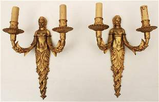 FRENCH GILT BRONZE FIGURAL SCONCES