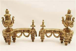 PR OF FRENCH GILT BRONZE CHENETS