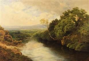 JOHN CLAYTON ADAMS, 19TH C. O/C RIVER LANDSCAPE