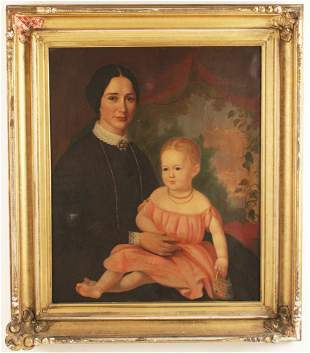 O/C PORTRAIT OF WOMAN AND CHILD; ATTR. C.R. PARKER