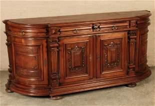 HANDSOME LOUIS XVI STYLE CARVED WALNUT SIDEBOARD