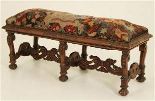 WILLIAM AND MARY STYLE WALNUT BENCH