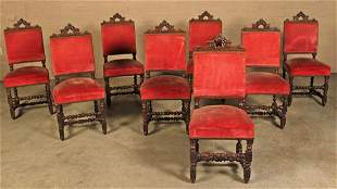 SET OF 8 EUROPEAN CARVED OAK UPHOLSTERED CHAIRS