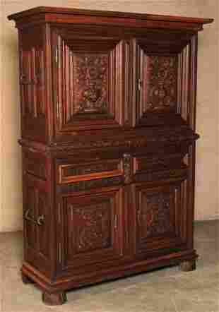 FRENCH OAKTWO PART  DOCUMENT CABINET