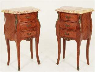 PR OF LOUIS XV STYLE MARQ. INLAID M/TOP COMMODES