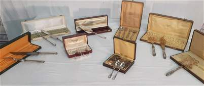 LOT OF BOXED FRENCH SILVER TABLE ARTICLES