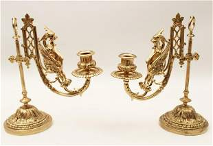 PR. OF FRENCH GILT BRONZE LIBRARY CANDLESTICKS