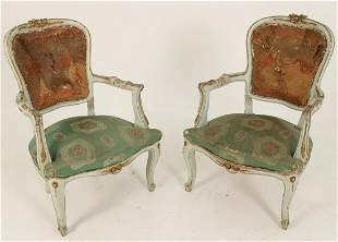 PR OF ITAL. POLYCHROME AND GOLD GILT ARM CHAIRS
