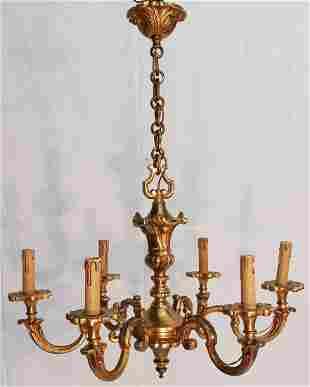 LOUIS XVI STYLE GILT BRONZE 6 LIGHT CHANDELIER
