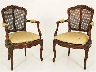PR. OF PROVINCIAL LOUIS XV STYLE WALNUT FAUTEUILS