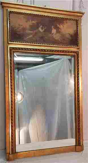 FRENCH CARVED GILTWOOD TRUMEAU MIRROR