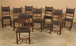 SET OF 8 FRENCH HENRI II CARVED OAK CHAIRS