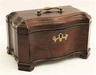 GEORGIAN MAHOGANY SERPENTINE TEA CADDY