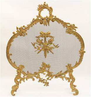 FRENCH LOUIS XVI STYLE  GILT BRONZE FIRE SCREEN