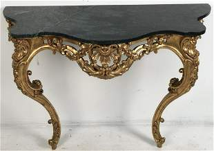 LOUIS XVI STYLE GOLD LEAF MARBLE TOP CONSOLE TABLE