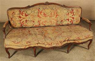 FRENCH CARVED WALNUT NEEDLEPOINT CANAPE,19TH C.