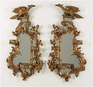 PR. OF ENGLISH GILTWOOD MIRRORED SCONCES
