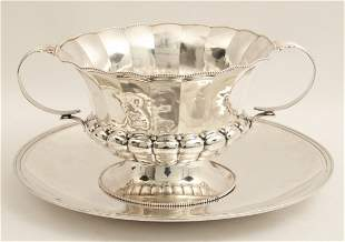 STERLING SILVER PUNCH BOWL W/ PLATED TRAY;  42.85 TOW