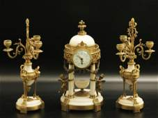 3 PC. FRENCH MARBLE AND GILT BRONZE CLOCK SET