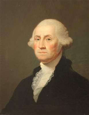19TH C. O/C PORTRAIT OF GEORGE WASHINGTON
