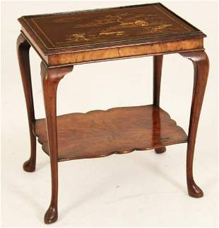 QUEEN ANNE STYLE WALNUT TABLE W/ CHINOISERIE TOP