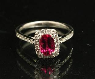 PLATINUM RUBY AND DIAMOND LADIES RING