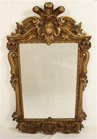 GEORGIAN STYLE CARVED GILTWOOD MIRROR, 19TH C.