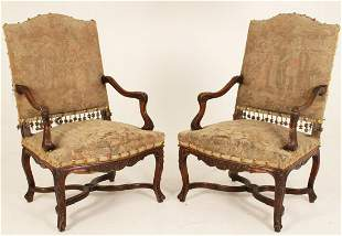 PR. OF FRENCH PROVINCIAL CARVED WALNUT FAUTEUILS