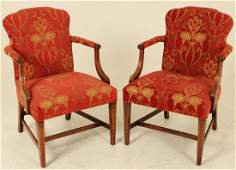PR. OF AMERICAN MAHOGANY UPHOLSTERED ARM CHAIRS