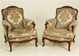 PR. OF FRENCH CARVED WALNUT LOUNGING CHAIRS
