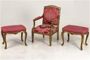 3 PC. MISC. LOT OF FRENCH SEATING FURNITURE
