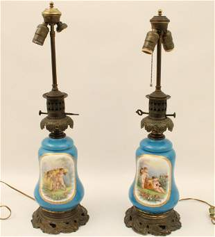 PR. OF FRENCH SEVRES STYLE PORCELAIN OIL LAMPS