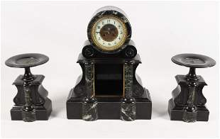 FRENCH MARBLE AND BLACK ONXY 3 PIECE CLOCK SET