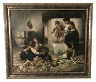 19TH C. ITALIAN O/C INTERIOR SCENE OF MOTHER/CHILDREN