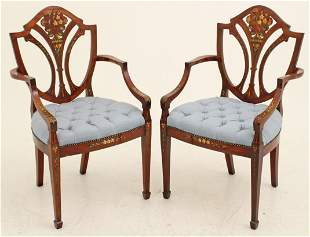 PR. OF PAINTED SATINWOOD SHIELD BACK ARMCHAIRS