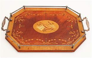 MARQUETRY INLAID DOUBLE HANDLED TRAY