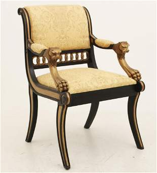 REGENCY STYLE LACQUERED ARMCHAIR