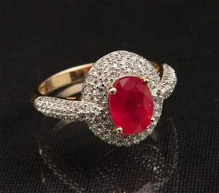 RUBY AND WHITE TOPAZ GOLD OVER STERLING SILVER RING