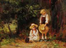 O/C LANDSCAPE PAINTING WITH CHILDREN